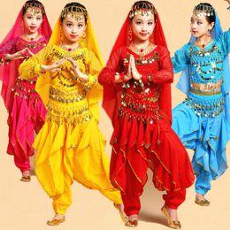 indian costume kids 2018 - Long Sleeve Girls Belly Dancing Costume Set Kids Indian Dance Performance Children Girl Bellydance Girl Egypt Dance Cost
