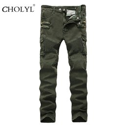 Green jeans punk online shopping - Men Army Green Punk Jeans Zippered Pockets Mens Biker Jeans Straight Fit Green Motorcycle Jeans