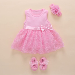 Beautiful Infants NZ - baby girl 1 year birthday dress pink party Bow knot boutique beautiful infant princess dress cute lace flower baby dresses