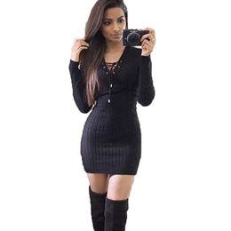 02533cd57dd Robes d hiver pour les femmes à manches longues Party-Dress tricoté évider  Sexy