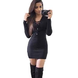 297aff1fdc18 Abiti invernali per donna manica lunga vestito da festa lavorato a maglia  scava fuori vestiti sexy delle donne con fasciatura Bodycon Club matita  vestito ...