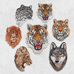 Tiger Tools Australia - Leopard Tiger Lion Wolf Embroidery Iron On Patches For Clothing Applique DIY Hat Coat Dress Accessories Cloth Sticker Animal