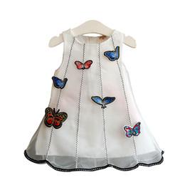 China Stereoscopic Butterfly Girls Dress Cute Cartoon Graffiti Sleeveless Backless Organza Lace Princess Dress Vest Skirt Round-neck 3-8T suppliers