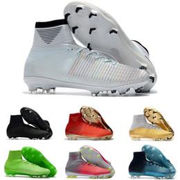 timeless design e041c 64b87 White Red Rainbow 100% original zapatos de fútbol Mercurial Superfly V FG  botines de fútbol Botas de fútbol de tobillo alto Ronaldo zapatillas  deportivas ...