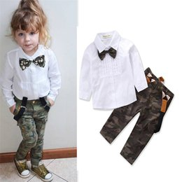 Cute Camouflage Clothing Canada - Cute Baby Girl Clothes Set Long Sleeve White Bow Tie Shirt Tops + Camouflage Pants Overalls 2PCS Girls Clothing Sets Spring Autumn 1-6Years