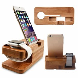 wood tablets 2019 - Real Bamboo wood Desktop Stand for iPad Tablet Bracket Docking Holder Charger for iPhone Charging Dock cheap wood tablet