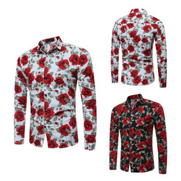 f07ab568066 2018 New Mens Long Sleeve Shirts Floral Printed Large Size Slim Fit Shirts  Rose Pattern Casual Single Breasted Shirt for Spring and Autumn