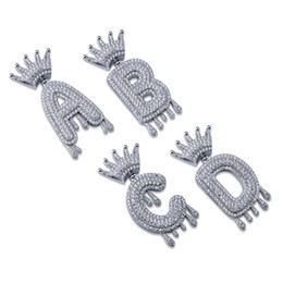 Crowns letters online shopping - Hip Hop Iced Out A Z No Custom Name Crown Drip Letter Pendant Necklace Chain Gold Silver Color Cubic Zircon Jewelry