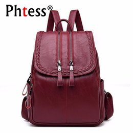 Backpacks 2018 Vintage Women Backpacks Preppy Style School Bags Leather Laptop Backpack Brown Women Leather Backpack Me820