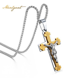 China Meaeguet 2 In1 Jesus Cross Pendant Necklace Men's Crucifix Jewelry Stainless Steel Vintage Necklaces For Male With 24 Inch Chain suppliers