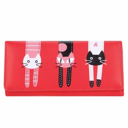 Women Cartoon Canada - Candy Color Cat Printing Wallet Women PU Leather Long Cartoon Ladies Girls Portfolio Clutch Purse Card Holder Pochette