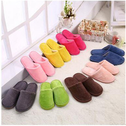 $enCountryForm.capitalKeyWord Canada - Wholdsale Winter Indoor Plush Slippers Solid Pinky Color Warm Cotton Slippers Light Portable Non-Slip Plush Slippers Free Shipping