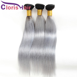weft for wholesale 2019 - Ombre Virgin Malaysian Silky Straight Bundles Dark Root 1B Grey Colored Human Hair Weaves Straight Two Tone Gray Extensi