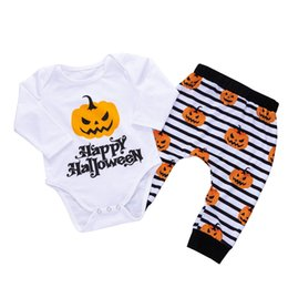 9d11aed9f14d Floral Pig Baby Halloween Clothing Sets Happy Halloween Pumpkin Printed  Long Sleeve Romper Striped Pumpkin Pants Infant Boys Girls Outfits