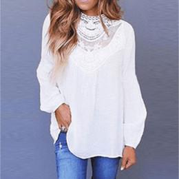 $enCountryForm.capitalKeyWord NZ - Womens Lace Neck Long Sleeve Floral Chiffon Shirt Ladies Casual Tops OL Basic Blouse