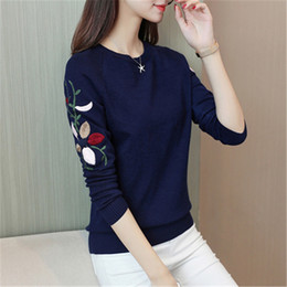 847a4b68a61 New Fashion 2018 Women Autumn Spring Embroidery Flower Sweater Pullovers  Casual Warm Female Knitted Sweaters Pullover Lady PZ072 Y18102001