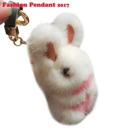 China Rabbit Keychain Real Rabbit Fur Keychain Fluffy Toy Doll Bag Car Charm Key Ring Jewelry For Women suppliers