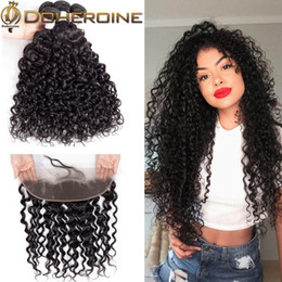 Afro Hair Extensions Bundles Australia - Brazilian Curly Hair Bundles With 13*4 Closure 100% Curly Weave Human Hair Natural Color Non Remy Afro Kinky Curly Hair Extensions Promotion