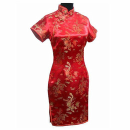 сексуальный ципао красный оптовых-Vintage Chinese style Mini Cheongsam New Arrival Women s Satin Qipao Red Summer Sexy Party Dress Mujer Vestidos Plus Size S XL