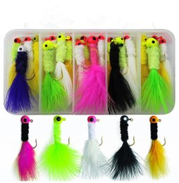 $enCountryForm.capitalKeyWord NZ - Crappie Jigs Assorted Colors Lead Head Hook With Marabou Chenille for Bass Pike Walleye Fishing Jig With Feather
