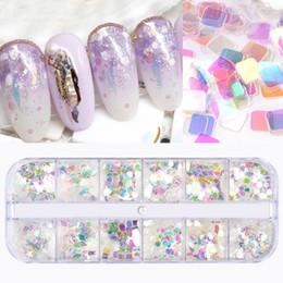 $enCountryForm.capitalKeyWord NZ - 1 Box Super Shiny Colorful Transparent Nail Art Glitter Sequins DIY 3D Charm Manicure Decorations Top Quality 12 Designs