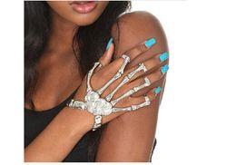 Discount skeleton bone hand bracelet - Hot Sales Halloween Props Gift Fun Nightclub Party Punk Finger Bracelet Gothic Skull Skeleton Bone Hand Finger Bracelet