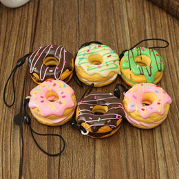 Cute Phone Chains Canada - 1PC Key Colorful Soft Kawaii Squishy Chain Straps Cute Donuts Charms Cell phone Straps Random Color Sent wholesale free shipping 2018 new