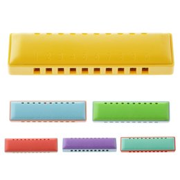 feeling toys 2019 - Quality 10 Holes Plastic Harmonica Mouth Organ with Case Kids Musical Instruments Toy Gifts Cultivate Baby Music Feeling