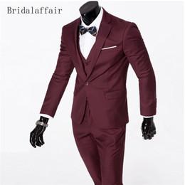 $enCountryForm.capitalKeyWord Canada - Bridalaffair Formal Burgundy Men Suit Set Classic Business Mens Suits Slim Fit Groom Tuxedos for Wedding Prom Jacket+Pants+Vest