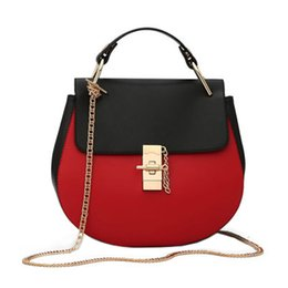 Chinese  Women's round chain shoulder bag Europe and the United States new fashion girls PU color flip lock handbag manufacturers