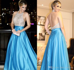 Holiday Evening Gowns Floor Length Australia - 2018 Satin Evening Dress A-line Long Backless Formal Holiday Celebrity Wear Prom Party Gown Custom Made Plus Size