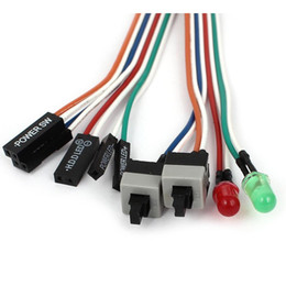 """Discount led hdd High Quality PC Case Red Green LED Lamp ATX Power Supply Reset HDD Switch Lead 20"""""""