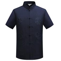 $enCountryForm.capitalKeyWord NZ - Chinese Traditional Tang Clothing Top Mandarin Collar Kung Fu Wing Chun Garment Top Short Sleeve Embroidery Dragon Shirt M-XXXL
