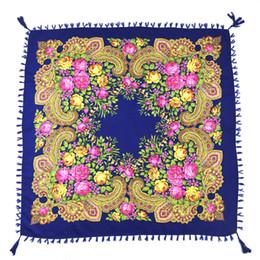 Big Tassel Scarves UK - New Russia Fashion Flower Square Scarf Women Big Handmade Decorative Tassel Scarf Wraps Ladies Winter New Blanket Shawl
