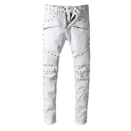 China Balmain Designer Jeans Skinny Ripped Destroyed Stretch Hop Hop Pants Jogging Pants Balmain Casual Mens Jeans cheap jogging pants fashion mens suppliers