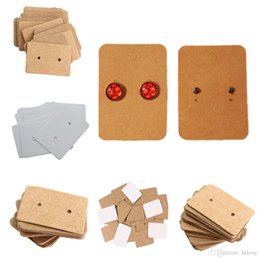 earring paper UK - 200 PCS Brown Kraft Paper Earring Card Ear Studs Display Tag Label Jewelry Display Card Kraft Rectangle Earring Tag Cards