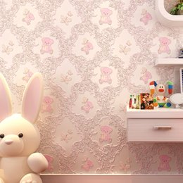 Wallpapers Walls Cartoons Australia - Wall Paper Self-adhesive Bedroom Warm Girl Romantic Pink College Dormitory Decor Wall Stickers For Kids Room Cartoon Wallpapers