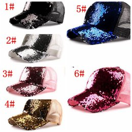 Discount wholesale tie dye ball caps - Fashion Mermaid Sequins baseball hats Summer mesh cap casual ball cap snapback baseball caps hats for men women trendy H