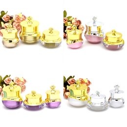 Discount acrylic cosmetic jar white - 5 10 15G Empty Refillable Acrylic Cosmetic Jars With Crown Cover And White Plastic Inner For Cream Lotion Eye Shadow Pow
