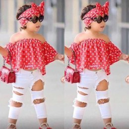 Chinese  3pcs Suit Girls Clothes Summer Baby Off Shoulder Tops +Jeans + Headband Clothing Set robe For 2 3 4 5 6 7 Years BB430 manufacturers
