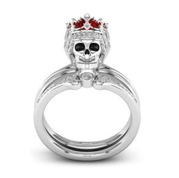 Rubies band online shopping - Europe new arrival fashion Creative skull ruby ring fshion Crown ring mixe size