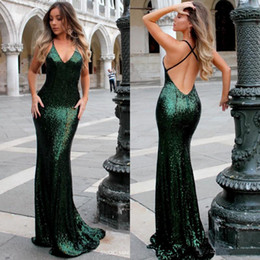 Discount cheap emerald prom dresses - 2018 Fashion Bling bling Sequins Mermaid Prom Dresses Sexy V Neck Emerald Backless Green Evening Dress Sweep Train Cheap