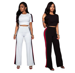 $enCountryForm.capitalKeyWord Canada - Womens Casual Loose Pants Fashion Summer Short Sleeve Two-piece Jogger Set Ladies Fall Tracksuit Sweat Suits with Black and White Colors