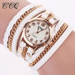Dropshipping Frauen-Goldketten-Leder-Armband-Uhr-Art- und Weisebeiläufige Armbanduhr-analoge Quarz-Takt-Stunde