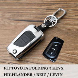 $enCountryForm.capitalKeyWord Australia - For TOYOTA Crown LEVIN REIZ Highlander RAV4 COROLLA Zinc Alloy+Leather Car Remote Protective key cover case shell Bag set fob