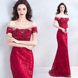 $enCountryForm.capitalKeyWord NZ - Red Lace Sexy 2018 Evening Dresses Sheer Neck Beaded Sheath Prom Dresses Vintage Short Sleeves Bridesmaid Formal Party Gowns