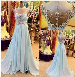 $enCountryForm.capitalKeyWord Australia - Baby Blue Rhinestones Long Prom Dresses 2018 Women Pageant Chiffon Crystals Special Occasion Formal Evening Gowns Formatura