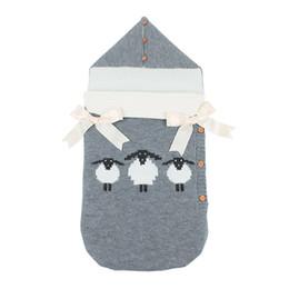 sleeping bag robe 2019 - Baby Cartoon knitted Sleeping Bag Winter Warm Sleepsacks Robe for Infant Wheelchair Envelopes for Newborns ins Stroller
