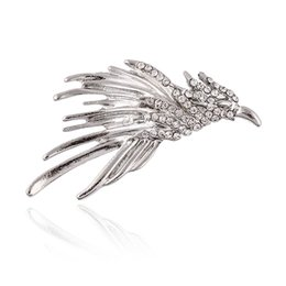 $enCountryForm.capitalKeyWord UK - New Fashion Vintage Flash Rhinestone Bird Eagle Collar Pin Brooch Siver Color Badge Men and Women Suits Coats Jewelry Accessories Wholesale