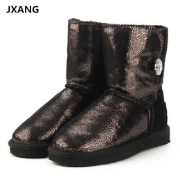 JXANG Top Quality Fashion 100% Genuine Cowhide Leather Snow Boots Real Fur  Classic Mujer Botas Waterproof Winter Shoes for Women 1c8c3879c53a